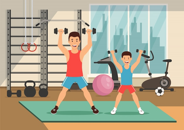 Cartoon father and son with dumbbells. Premium Vector