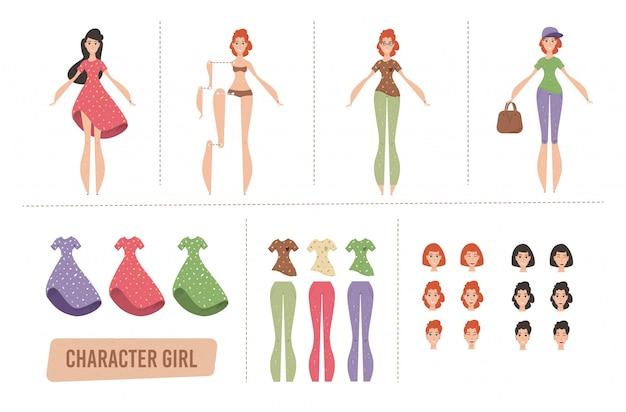 Cartoon female characters animation set or diy kit Premium Vector