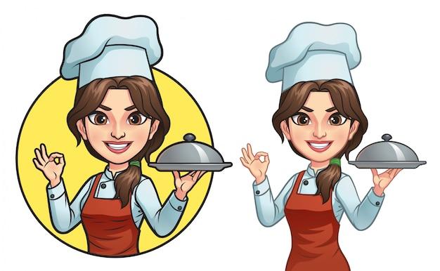 Мультфильм женщина повар Premium векторы
