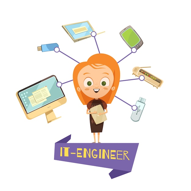 Cartoon female figurine of it engineer and data exchange tools icons set Free Vector