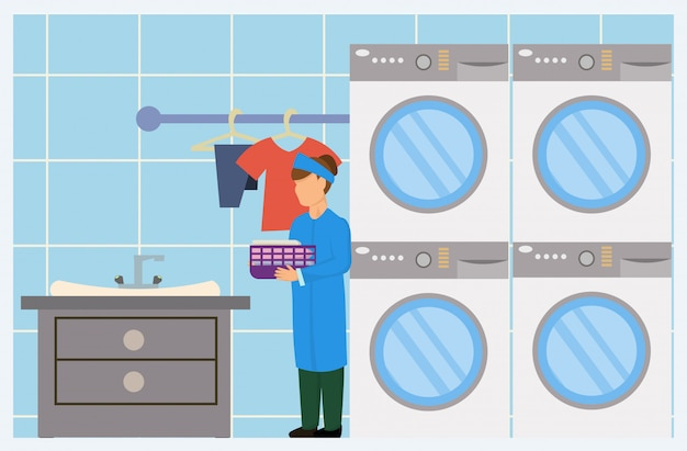 Cartoon female laundry worker with washer dryer Premium Vector
