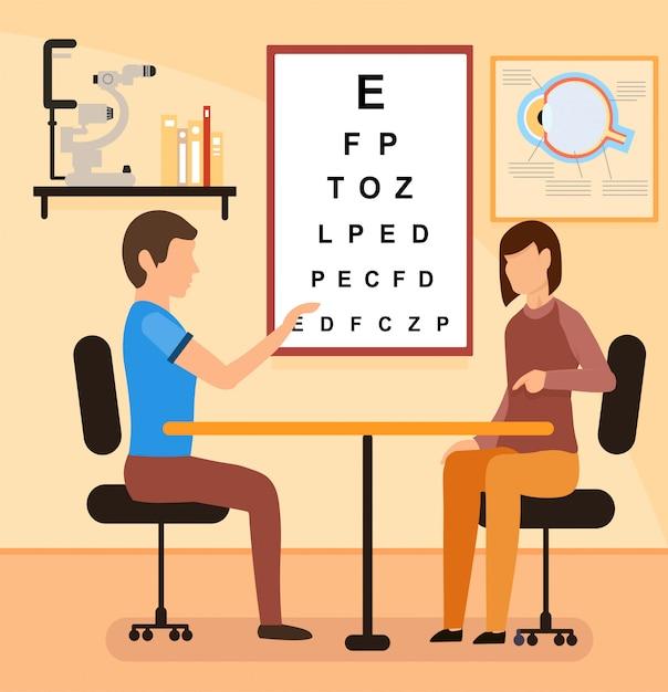 Cartoon female patient with oculist consultation Premium Vector