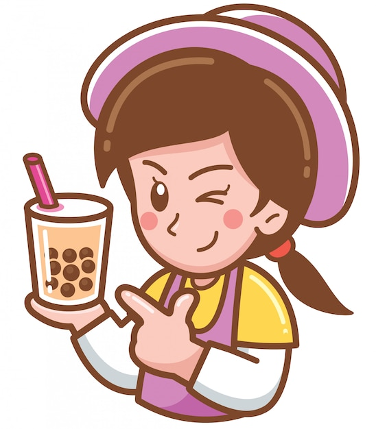 Cartoon female presenting bubble tea Premium Vector