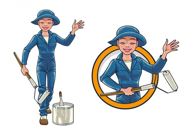 Cartoon female wall painter service Premium Vector