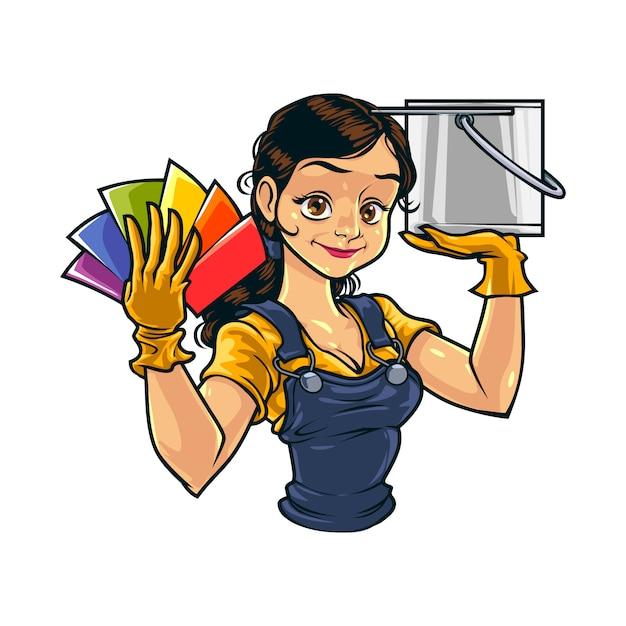 Cartoon female wall painter Premium Vector