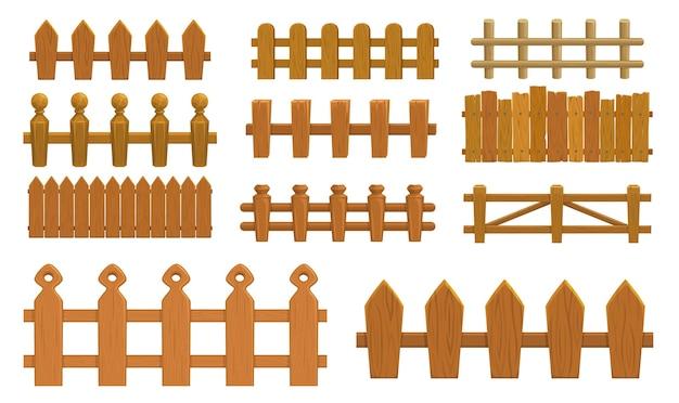 漫画のフェンス、木製の柵の農場の門またはピケット付きの欄干。 Premiumベクター