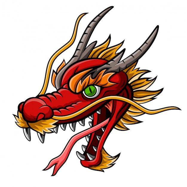 Cartoon fierce red dragon head mascot Premium Vector