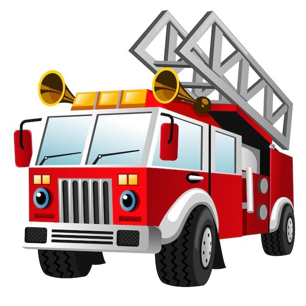 Cartoon of fire department truck Premium Vector