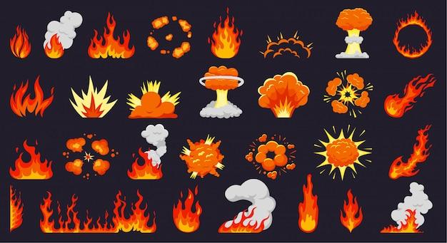 漫画の火の爆発。火の炎、熱いキャンプファイヤー、爆発的な爆弾の雲、炎のような爆発。炎のシルエットイラストセット。火力、スモークブラスト、ダイナマイトブームコレクション Premiumベクター