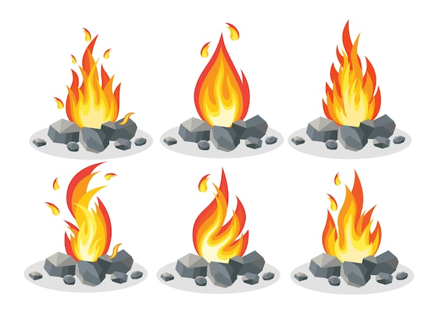 Cartoon fire flames, bonfire, campfire isolated on background. Premium Vector