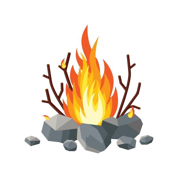 漫画火の炎、たき火、分離されたキャンプファイヤー Premiumベクター