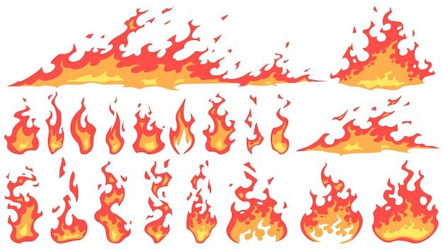 Cartoon fire flames Premium Vector