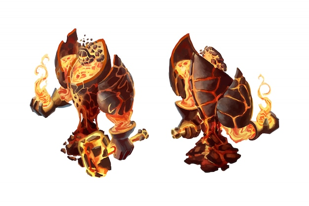 Cartoon fire golem, game character isolated Premium Vector