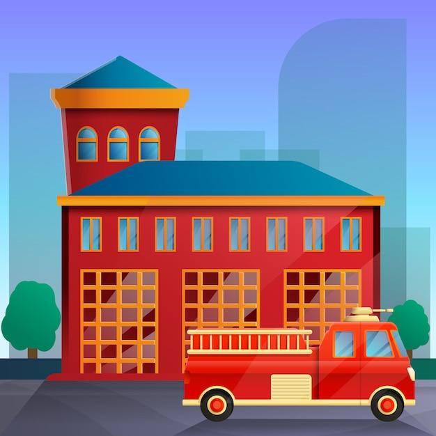 Мультяшный пожарная станция и пожарная машина, векторная иллюстрация Premium векторы