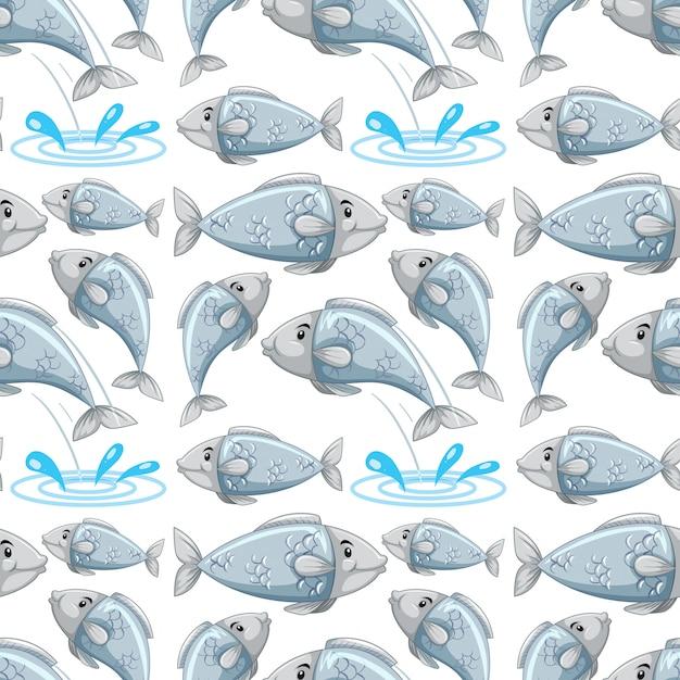 Cartoon fish seamless pattern Free Vector