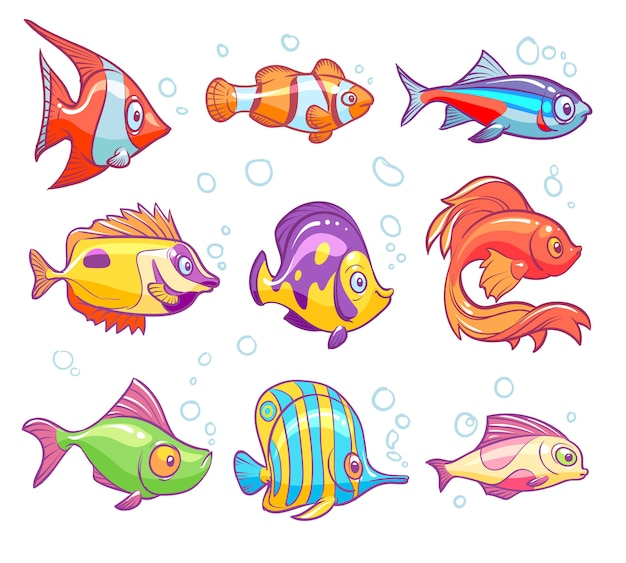 Cartoon fishes. aquarium sea tropical fish funny underwater animals. goldfish kids  isolated set Premium Vector