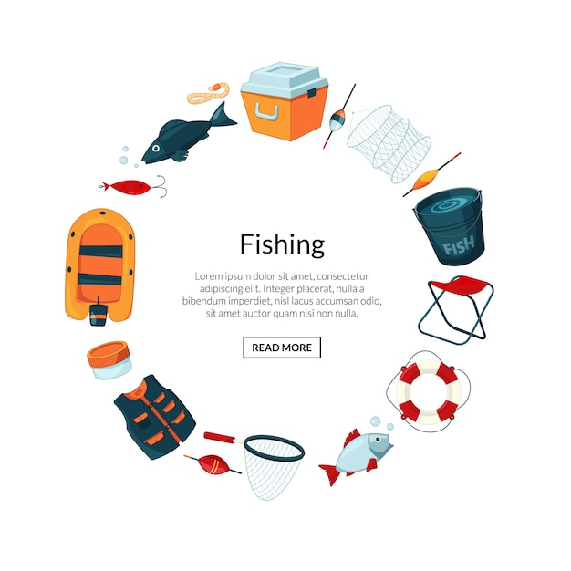 Cartoon fishing equipment in circle form with place for text in center Premium Vector
