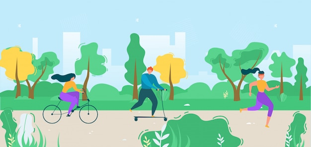 Cartoon flat active people city dwellers illustration Premium Vector