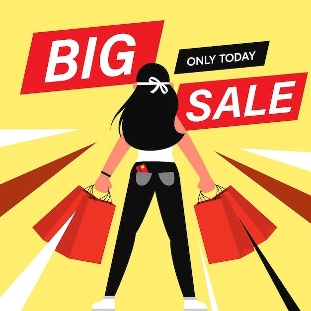 큰 판매, 쇼핑 개념에 만화 평면 문자 고객. 무료 벡터