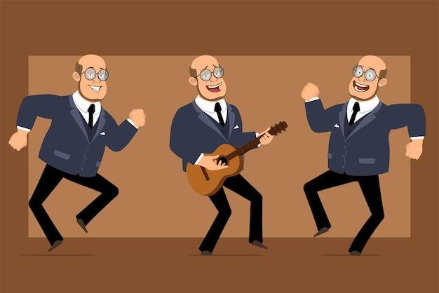 Мультфильм плоский смешной лысый профессор мужчина персонаж в темном костюме и очках. мальчик прыгает, танцует и играет на гитаре. Premium векторы