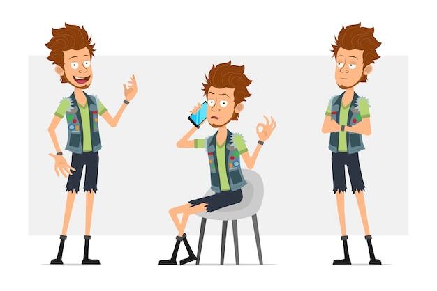 Мультяшный плоский забавный бородатый хипстерский персонаж в джинсовых шортах и куртке Premium векторы