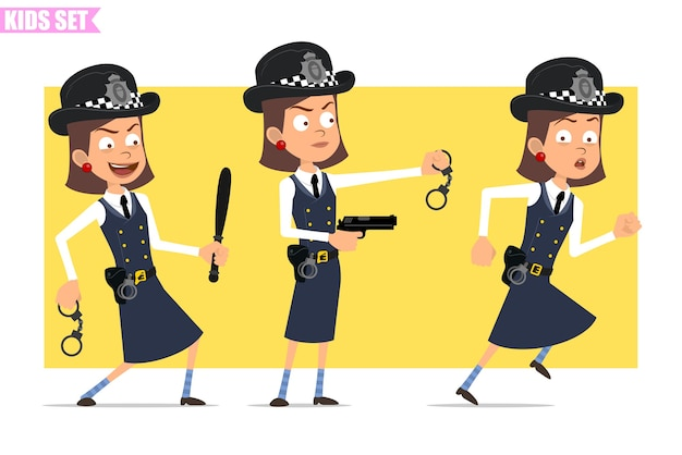 Cartoon flat funny british policeman girl character in helmet hat and uniform. girl running and holding pistol, baton, handcuffs. Premium Vector