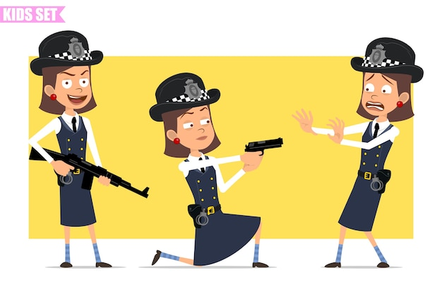 Cartoon flat funny british policeman girl character in helmet hat and uniform. girl scared, shooting from pistol and holding rifle. Premium Vector