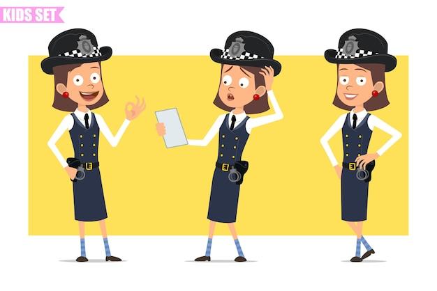 ヘルメットと制服を着た漫画フラット面白いイギリスの警官の女の子キャラクター。ポーズ、メモを読んで大丈夫のサインを示す女の子。 Premiumベクター