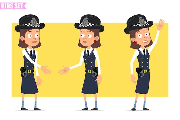 ヘルメットと制服を着た漫画フラット面白いイギリスの警官の女の子キャラクター。握手してこんにちはと言う女の子。 Premiumベクター