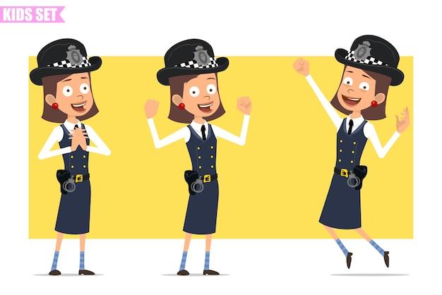 ヘルメットと制服を着た漫画フラット面白いイギリスの警官の女の子キャラクター。立って、ジャンプして、筋肉を見せている女の子。 Premiumベクター