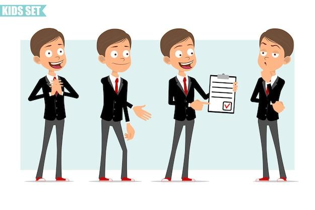 빨간 넥타이와 검은 자 켓에 만화 평면 재미 비즈니스 소년 캐릭터. 손을 흔들면서 작업과 빨간색 표시가있는 목록을 보여주는 아이. 애니메이션 준비. 회색 배경에 고립. 세트. 프리미엄 벡터