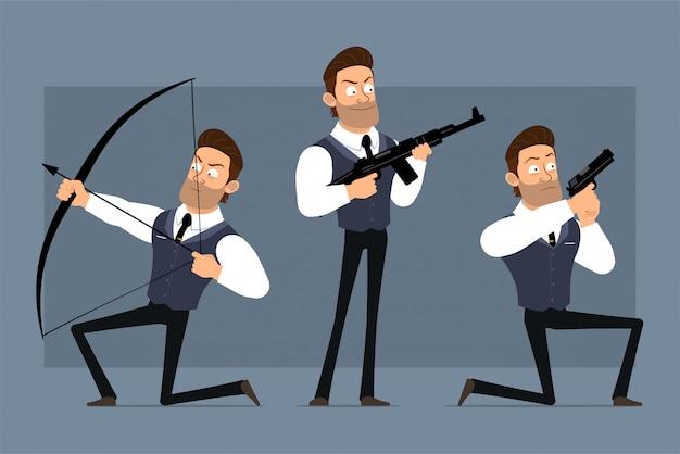 黒のネクタイと漫画フラット面白いかわいい強い筋肉ビジネスマンキャラクター。アニメーションの準備ができています。怒っている男の子がピストル、ライフル、弓で撃ちます。灰色の背景に分離されました。大きなアイコンを設定します。 Premiumベクター