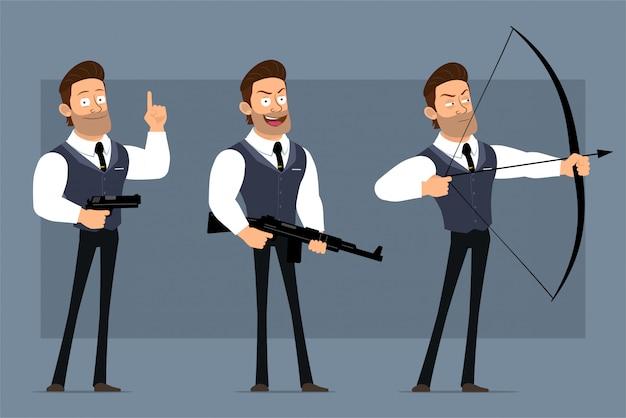 黒のネクタイと漫画フラット面白いかわいい強い筋肉ビジネスマンキャラクター。アニメーションの準備ができています。微笑む少年がピストル、ライフル、弓で撃ちます。灰色の背景に分離されました。大きなアイコンを設定します。 Premiumベクター