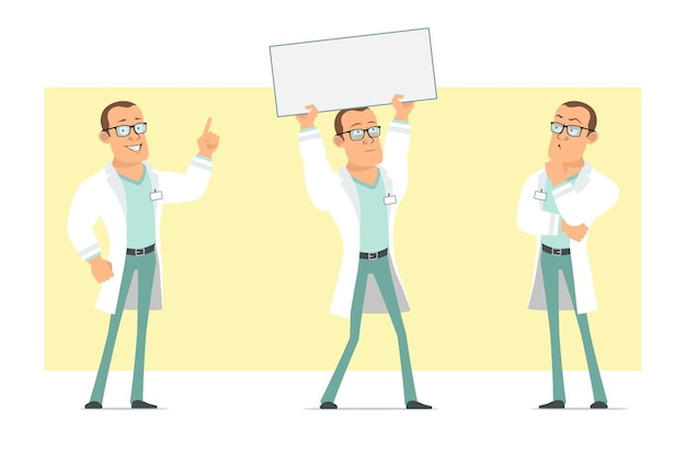 흰색 유니폼과 안경에 만화 평면 재미 강한 의사 남자 캐릭터. 생각 하 고 텍스트에 대 한 빈 종이 기호를 들고 소년. 애니메이션 준비. 노란색 배경에 고립. 세트. 프리미엄 벡터