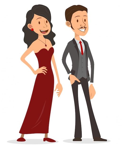 Cartoon flat handsome lady and gentleman character Premium Vector