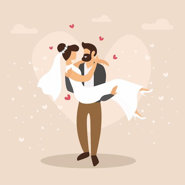 Мультфильм иллюстрация пара молодоженов. свадебное мероприятие cartoon flat. Premium векторы