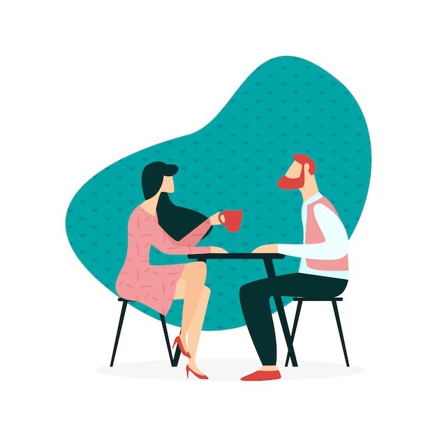 Иллюстрация даты в кафе cartoon flat. Premium векторы