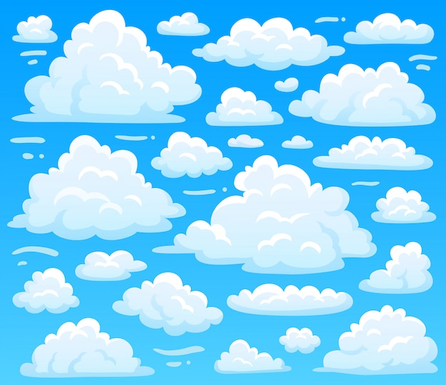 Cartoon fluffy cloud at azure skyscape. heavenly clouds on blue sky, atmospheric cloudscape vintage Premium Vector