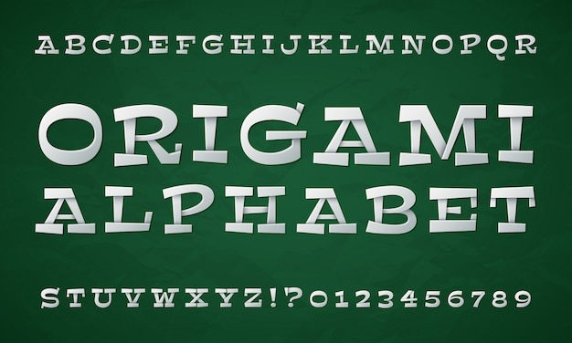 Cartoon folded type. white paper font. 3d origami letters and numbers. vector retro alphabet Premium Vector