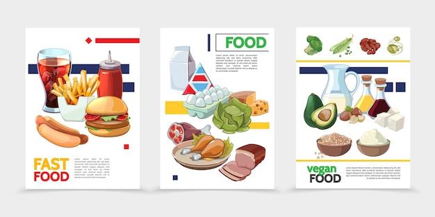 Плакаты с мультяшной едой Бесплатные векторы