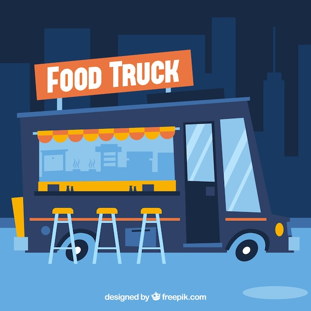 Cartoon Food Truck Free Vector