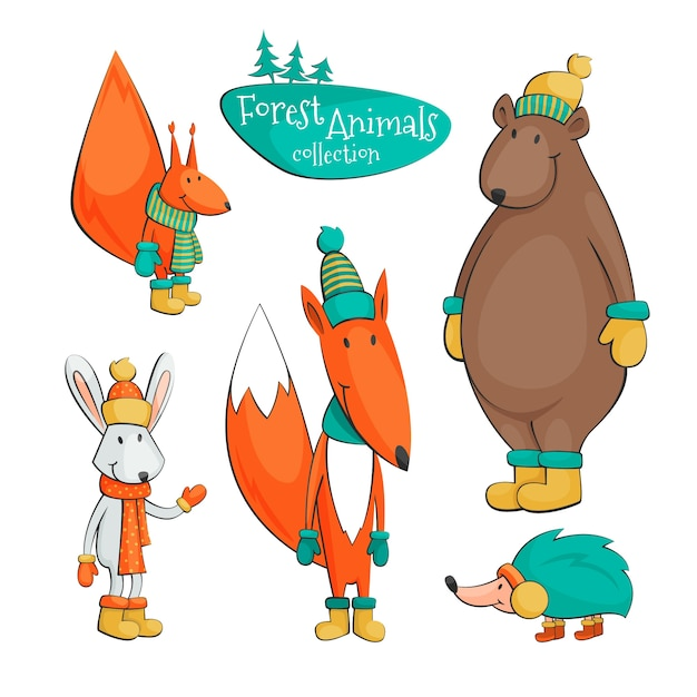 Cartoon forest animal collection