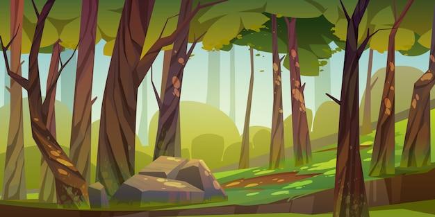 만화 숲 배경, 자연 공원 풍경 무료 벡터