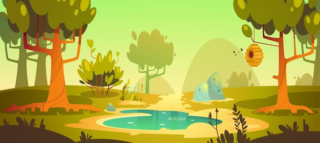 Cartoon forest with swamp and trail Free Vector