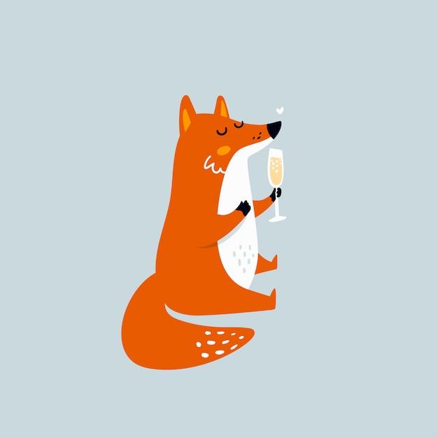 Cartoon fox with glass of wine Premium Vector