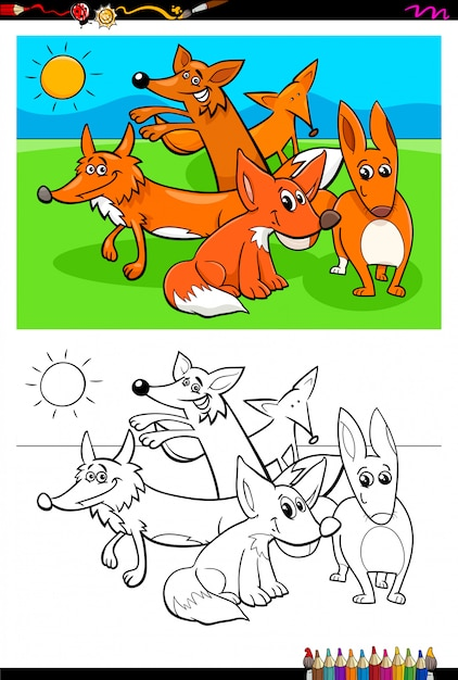 Cartoon of foxes animals coloring book Premium Vector
