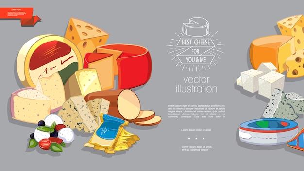 Modello di prodotti lattiero-caseari freschi del fumetto Vettore gratuito