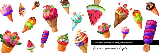 Мультяшный баннер свежего мороженого с мороженым различного дизайна с разными вкусами фруктов и ягод Бесплатные векторы
