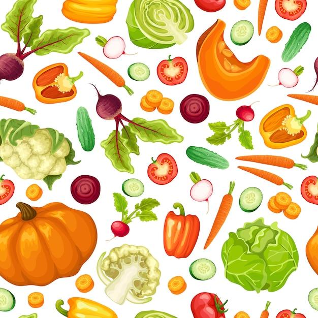 漫画の新鮮な野菜のシームレスパターン 無料ベクター