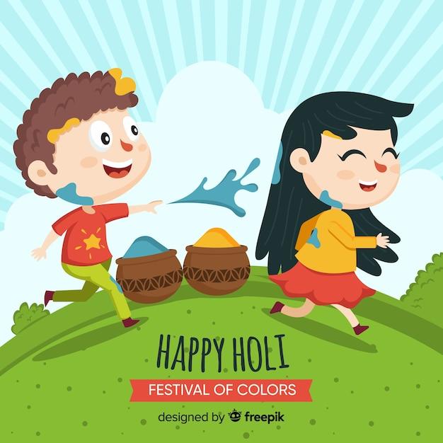 Cartoon Friends Holi Festival Background Vector Free Download